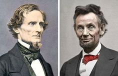 Union's slain leader and Confederacy's disgraced president portrayed differently 150 years ago.