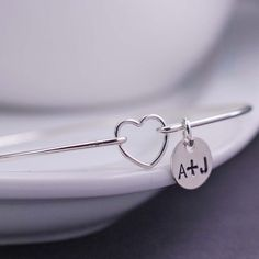 Sterling Silver Heart Bracelet - Personalized Valentine Jewelry by georgiedesigns