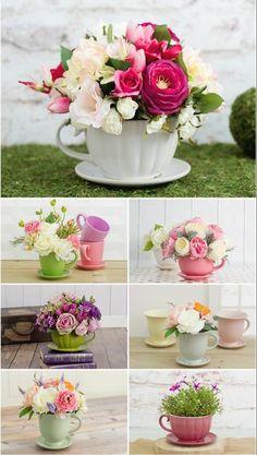 cadeau fete des meres dans des tasses en porcelaine, bouquet de fleurs, décoration florale maison jardin, style shabby chic, #jardines