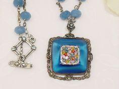 2 Vintage Mosaic Pendant, Blue Quartz beaded Necklace