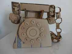 Cardboard Sculpture, Landline Phone, Messenger Bag, Sculptures, Satchel, Crafts, Bags, Hand Crafts, Recycling