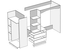 Угловая двухъярусная кровать Степ
