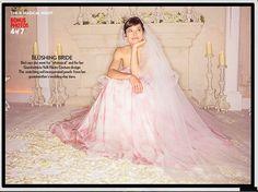 Jessica Biel in tiered pink chiffon by Giambattista Valli