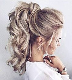Hairstyles Wedding Ponytail Updo Best Ideas Source by Ponytail Updo, Ponytail Ideas, Blonde Ponytail, Curly Ponytail Hairstyles, Twisted Ponytail, Updo Curls, Hair Ponytail Styles, High Curly Ponytail, Long Hairstyles