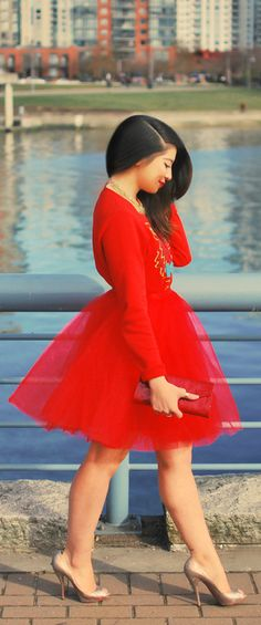 Chic In The City- Red Sweater + Red Tulle Skirt + Nude Pumps + Side Part- #LadyLuxuryDesigns