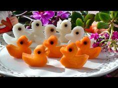 How to Make Five Little Ducks | Vegetable Carving Garnish | Carrot Ducks...
