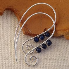 Blue Spiral Earrings Handmade with Lapis Lazuli and Sterling