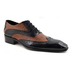 Sharp designer style in mens two tone oxford shoes. Quirky but smart. Original Gucinari Design.