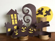 This spooky Halloween Scene Toilet Paper Tube Paper Craft makes a perfect 3D diorama and can be used for storybook telling, book reports, and puppet play.