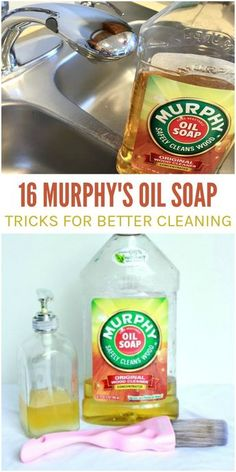16 Murphy's Oil Soap Uses for Better Cleaning If you don't have this cleaning product in your arsenal, get it ASAP! Here are 16 Murphy's Oil Soap uses you've probably never tried before. Deep Cleaning Tips, House Cleaning Tips, Natural Cleaning Products, Spring Cleaning, Cleaning Hacks, Diy Hacks, Cleaning Recipes, Green Cleaning, Natural Cleaning Solutions