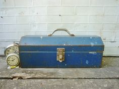 Vintage Blue Metal Tool Box by KnickofTime on Etsy, $13.00