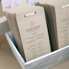 I could print the ceremony program onto a brown paper bag. Fill with a handfull of confetti & finish off with a colourful strip of that tape stuff, ribbon ect. Creative Wedding Programs, Rustic Wedding Programs, Wedding Stationary, Wedding Seating, Casual Outdoor Weddings, Casual Wedding, Wedding Events, Our Wedding, Wedding Stuff