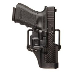 BlackHawk CQC SERPA Holster With Belt and Paddle Attachment, Fits Glock 17/22/31, Left Hand, Carbon Fiber, Black - Endless Box - 1