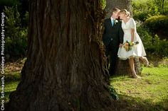 The adorable couple have a private moment among Tarpy's lush grounds. Wedding Ceremony and Reception Venue: Tarpy's Roadhouse and Monterey Stone Chapel Wedding Photographer: Chris Schmauch, Goodeye Photography+Design