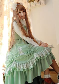 Vintage Chiffon Lace Lolita Dresses Green