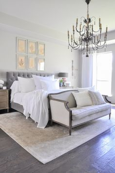 Today, I'm sharing my bedroom decorated for spring with white linen and beautiful new curtain panels. The bedroom is a great place to add spring touches