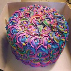 A rainbow cake is fun to look at and eat and a lot easier to make than you might think. Here's a step-by-step guide for how to make a rainbow birthday cake. Pretty Cakes, Cute Cakes, Beautiful Cakes, Amazing Cakes, Bolo Tumblr, Super Torte, Cupcakes Decorados, Gateaux Cake, Colorful Cakes