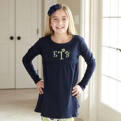 Girls Navy Empire Top – Lolly Wolly Doodle