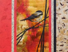 Bird Ink Abstract Acrylic Nature Painting, Mixed-Media Contemporary 11x14  Paper…