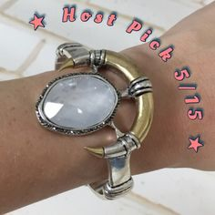 {Lucky Brand} Smokey Quartz Crescent Cuff This is a WOW piece! Gorgeous two-tone cuff allows it to be worn daily with both your gold & silver jewelry...it's the perfect star of your favorite arm party!  Set off by a large smokey quartz center stone with a marcasite halo...all flanked by a gold crescent. You will get compliments on this every time you wear it. I only got to wear once...too big for my wrist  Lucky brand, OS (not adjustable) Lucky Brand Jewelry Bracelets