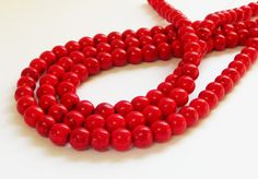 Red Round Beads  Red Magnesite Turquoise Smooth by BijiBijoux