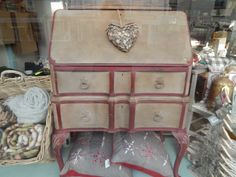 Painted Bureau in French Linen and Burgundy by Pat from Source for the Goose in Devon, England