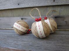 Rustic christmas burlap ornaments jingle.