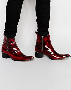 ca3ebf3f3 Jeffery West Zip Cuban Heel Boots Mens Heeled Boots, Men Heels, Beatles  Boots,