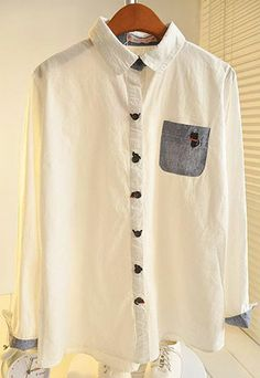 $15.99 USD [ghyxh36212]Embroidery Cat Chest Pocket White Button Down Shirt