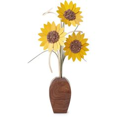 WoodWildflowers Decorative Wood Sunflowers ($120) ❤ liked on Polyvore featuring home, home decor, flowers, wooden sculptures, wood sculpture, wood home decor, handmade home decor and floral home decor