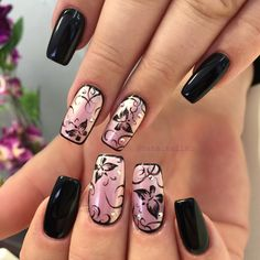 @haha_nails_ hand painted butterfly nail art