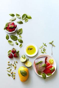 basil wsj Raymond Hom for The Wall Street Journal, Food Styling by Martha Bernabe, Prop Styling by DSM . Basil Recipes, Fruit Recipes, Salmon Recipes, Healthy Recipes, Food Photography Styling, Food Styling, Soup Starter, Basil Plant, Gastronomia