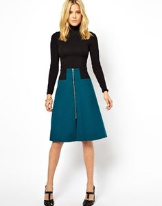 ASOS Midi Skirt with Rib Waist and Zip Detail