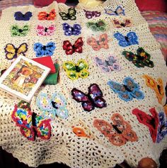 (4) Name: 'Crocheting : Vintage Butterfly Afghan