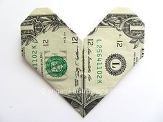 Easy Money Origami Heart (This site has many money origami ideas as well as regular origami and napkin folding.)