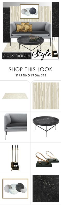 """black marble"" by katymill ❤ liked on Polyvore featuring interior, interiors, interior design, home, home decor, interior decorating, Somerset Bay, Cole & Son, ferm LIVING and MCM"