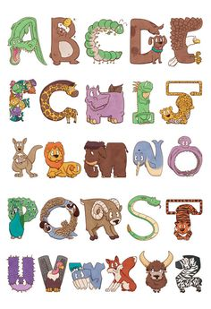 Bendy Zoo Alphabet Animals Art Print by Drake Sauer - X-Small Letters For Kids, Alphabet For Kids, Alphabet Art, Animal Alphabet, Printable Alphabet Worksheets, Printable Animals, Kids Worksheets, Animal Activities, Kids Learning Activities