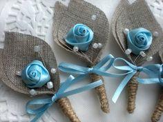 Set of 6 Blue Flower burlap Boutonniere buttonhole by BrightBride Wedding Pins, Fall Wedding, Rustic Wedding, Wedding Stuff, Wedding Ideas, Burlap Flowers, Fabric Flowers, Burlap Boutonniere, Boutonnieres