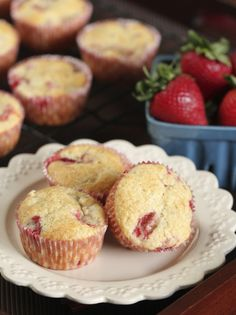 The Best Strawberry Rhubarb Muffins {Satisfy My Sweet Tooth}