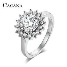 CACANA CZ Rings For Women Sun flower
