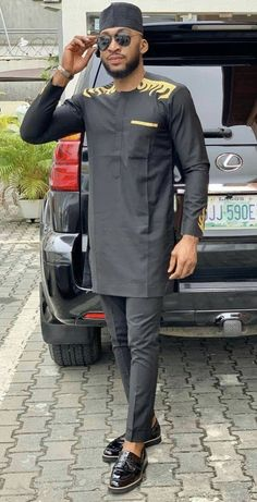 outfits pantalon negro African mens wear,African mens clothing, African men's attire,black suit ,African clothing for men African Male Suits, African Dresses Men, African Attire For Men, African Clothing For Men, African Shirts, African Wear, Nigerian Men Fashion, African Men Fashion, Ankara Fashion