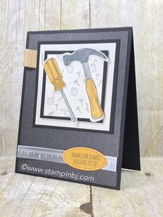 Struggle with Masculine Cards? Check out the Nailed It Masculine card class - this is one of the alternate projects! #stampinbj.com Masculine Birthday Cards, Birthday Cards For Men, Masculine Cards, Male Birthday, Boy Cards, Men's Cards, Fancy Fold Cards, Fathers Day Cards, Scrapbook Cards