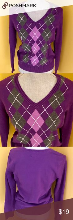 IZOD Argyle Sweater Classic everyday look to wear with jeans, slacks, or a skirt. Izod Sweaters V-Necks