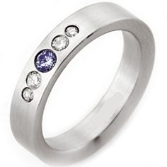 COI Tungsten Carbide Ring With Swarovski Created Sapphire-TG2202