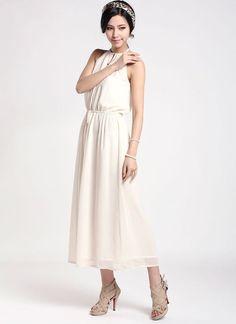 White Halter Tea Dress with Draw String Waist