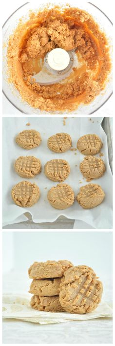 3 Ingredient Peanut Butter Cookies that contain NO oil, NO refined sugar and NO flour! Start to finish it's only 15 minutes. Vegan, gluten free & grain free 1 cup unsalted natural peanut butter cup + 1 T maple syrup 1 tsp sea salt Sugar Free Desserts, Sugar Free Recipes, Sugar Free Snacks, Vegan Sweets, Healthy Sweets, Tea Cakes, Whole Food Recipes, Dessert Recipes, Vegan Recipes
