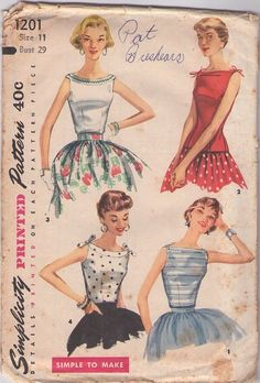 Simplicity 1201 Vintage 50's Sewing Pattern STELLAR Petite Rockabilly Pin Up Bateau Neck Summer Cocktail Party Blouse, Top Set #MOMSPatterns