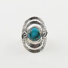 Blue Copper Turquoise Swirl Sterling Silver Ring