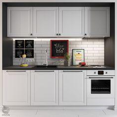 Pedra da bancada preta e armarios branco dá contraste e elegância a cozinha.