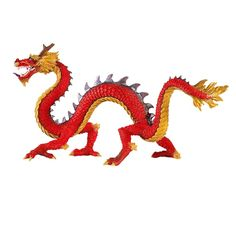 This horned Chinese dragon model is perfect for imaginative play, education projects, dioramas, party favors and crafting. Red Chinese Dragon, Japanese Dragon, Dragon City, Fire Dragon, Cosplay Steampunk, Prehistoric World, Octopus Art, Dragon Pictures, Samurai Tattoo